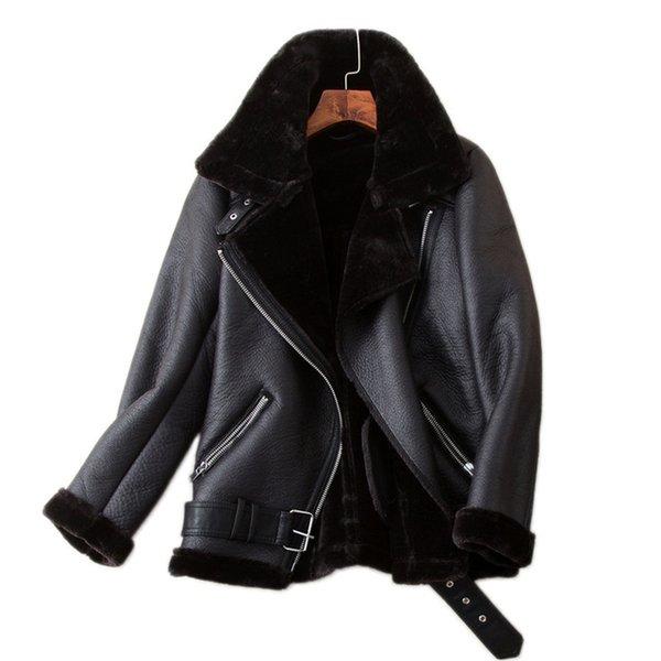 Vêtements pour femmes AILEGOGO Manteaux d'hiver Femmes Épaisseur Faux en cuir Fourrure en peau de mouton Femelle En Cuir Veste Aviator Outwear Casaco Feminino