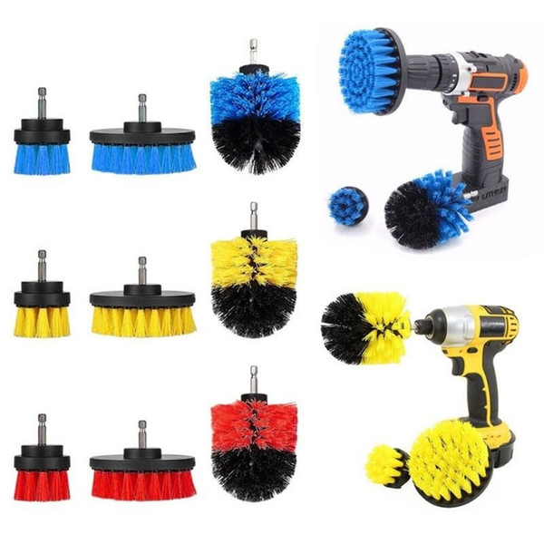 top popular 4Pcs Set Electric Scrubber Brush Drill Brush Kit Plastic Round Cleaning For Carpet Glass Car Tires Kitchen Bathroom Floor 2021