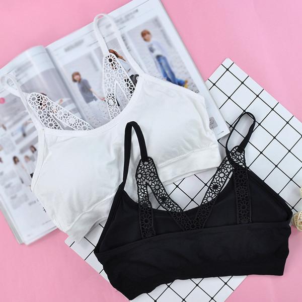 top popular New Plain Color Students Girls Teenager Sling Tank Vest Lace Shoulder Straps Brassiere Bra Intimates Underwear ZFS0552 2021