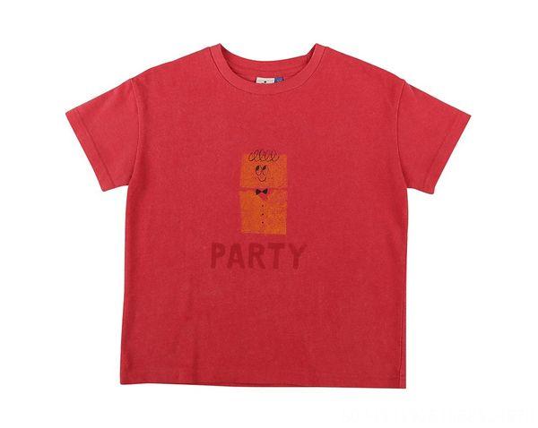 Parti rouge à manches courtes T-shirt