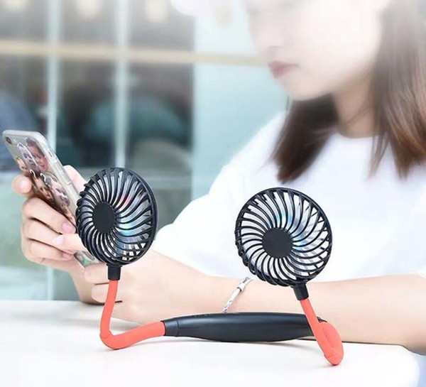 top popular Portable USB Rechargeable Neckband Lazy Neck Hanging Dual Cooling Mini Fan Sport 360 Degree Rotating Hanging Neck Fan 2021