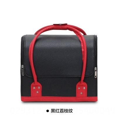black and red combo pebbled leather