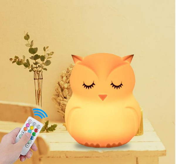best selling Owl LED Night Light Touch Sensor Remote Control 9 Colors Dimmable Timer USB Rechargeable Silicone Bedside Lamp for Children Baby