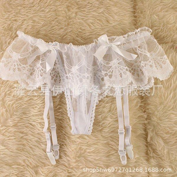 white -suspender Belt + silk stockings