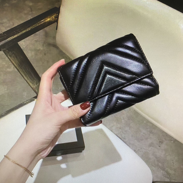 top popular 474802 Marmont short wallet classic fashion women coin purse zipper pouch quilted soft leather wallets main card holder credit card clutch 2021