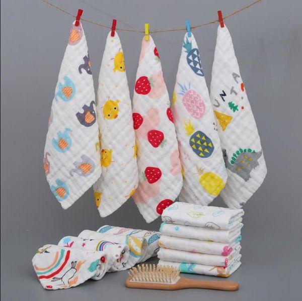 best selling Towels Baby 6 Layers Cotton Gauze Rags Newborn Handkerchief Cartoon Soft Infant Face Towel Hanging Washcloths Feeding 10 Designs 120pcs 5615