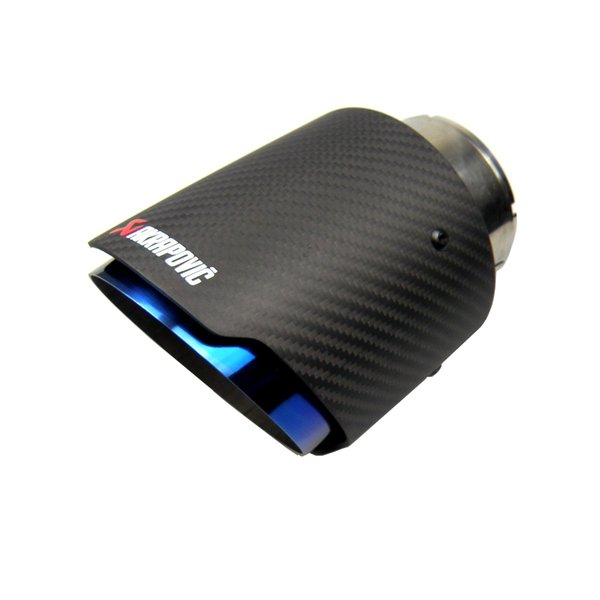 best selling Akrapovic Style Carbon Fibre Car Exhaust Tip Muffler Tail Pipe Blue Burnt Matte Black Cover