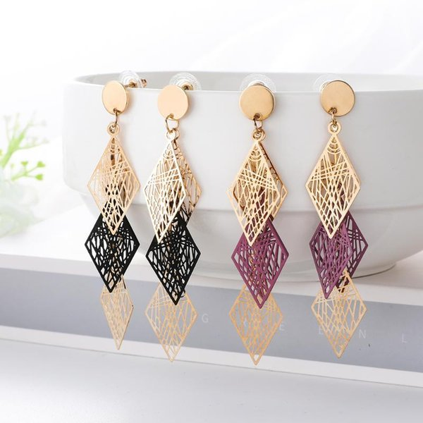 wybu style six color rhombus howllow out drop earring for women lady's black long chain earing jewel geomatric brincos, Silver
