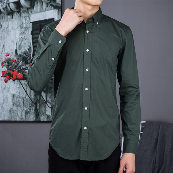 top popular Men's business casual shirts, thin cotton design, solid color shirts, high-quality embroidered long-sleeved tops 2021