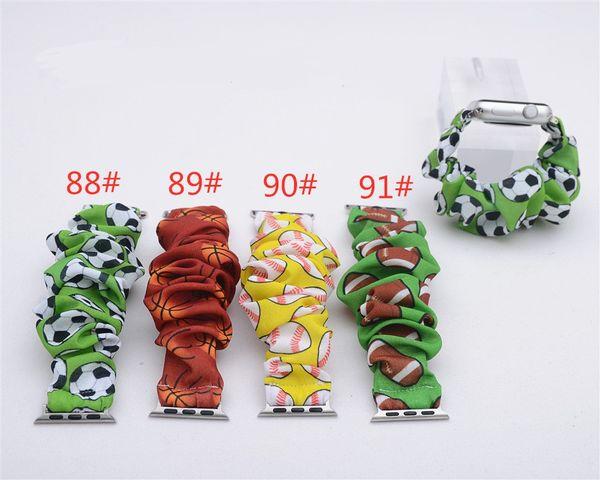 best selling Sports Scrunchies watchband Football Soccer Baseball watchband Fashion Scrunchie Cloth Wristlet Band 38mm 42mm