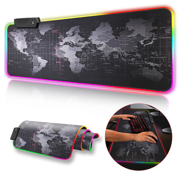 top popular Gaming Mouse Pad RGB Large Mouse Pad Gamer Big Mouse Mat Computer Mousepad Led Backlight Surface Mause Pad Keyboard Desk Mat 2021