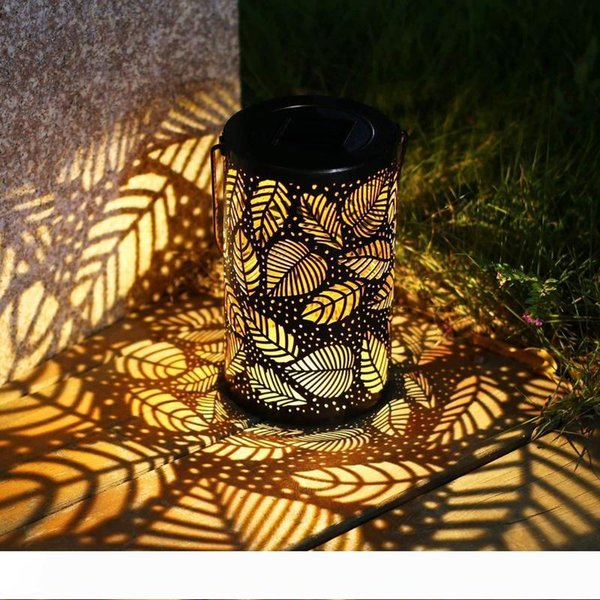 Solar Garden Light Metal Hollow Projection Hanging Lamp for Outdoor Garden Yard Pathway Lawn Decoration Solar Power Light 10160