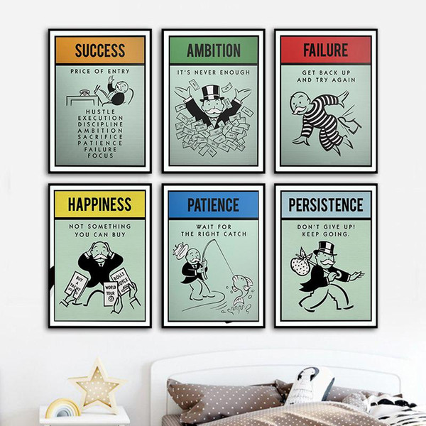 best selling Alec monopolies Inspiration Success Ambition Patience Canvas Poster Wall Art for Living Room Home Decor (No Frame)