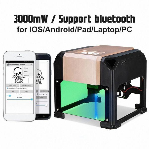 top popular New Upgrade 3000MW Compact Desktop Bluetooth Laser Engraving Machine DIY Mark Printer Cutter CNC Laser Carving Machine BZ6x# 2021