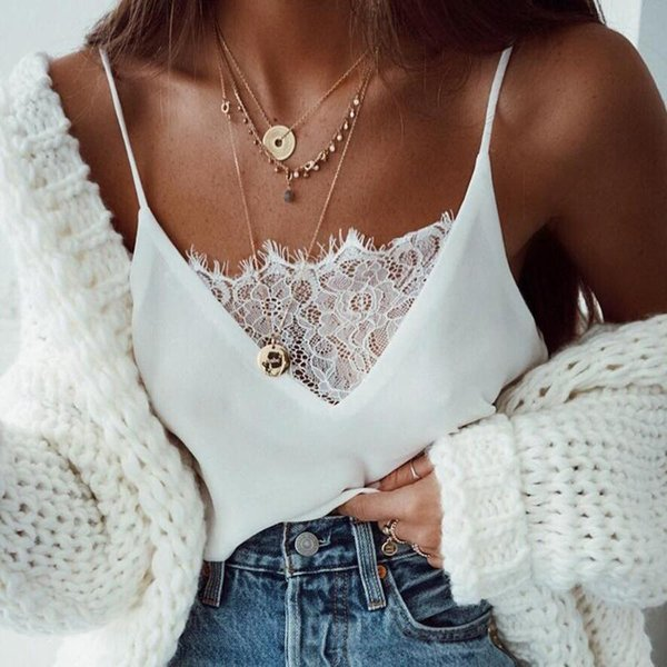 top popular Womens Lace Sexy Vest Fashion Camisole Sleeveless T-Shirt Underwear Tank Top Comfortable Casual Women's Summer Intimates 2021