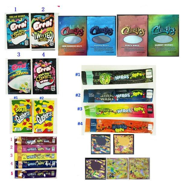 best selling EMPTY Errlli Gushers Rope Dope Flav Dank Gummies edible packaging Chuckles Medibles NeRds ROPE medicated candy CANNABURST edibles packaging