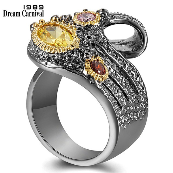 Cheap Rings DreamCarnival1989 Give U @ Different Look Women Rings Twisted Ribbon Design Unique Quality Chic CZ Fashion Jewelry 2019 WA11753