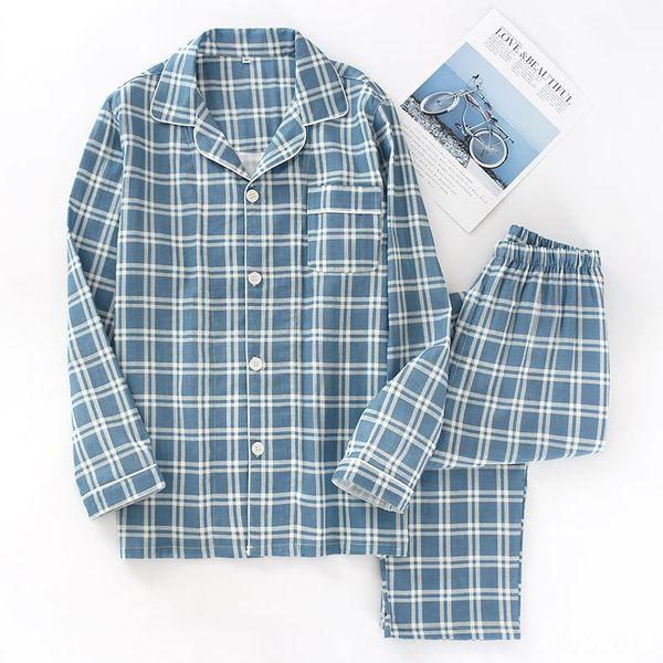 Q мужчин # 039; s марлевых синий плед пижамы костюм