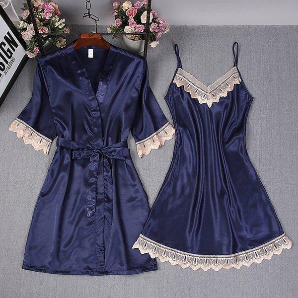 Come la seta 928 # camicia da notte blu