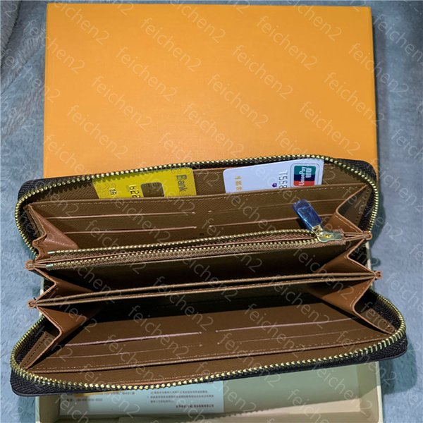 top popular mens wallet Single zipper wallets credit card holder men genuine leather purse card holder long business Coin Pocket checkered with box 2020