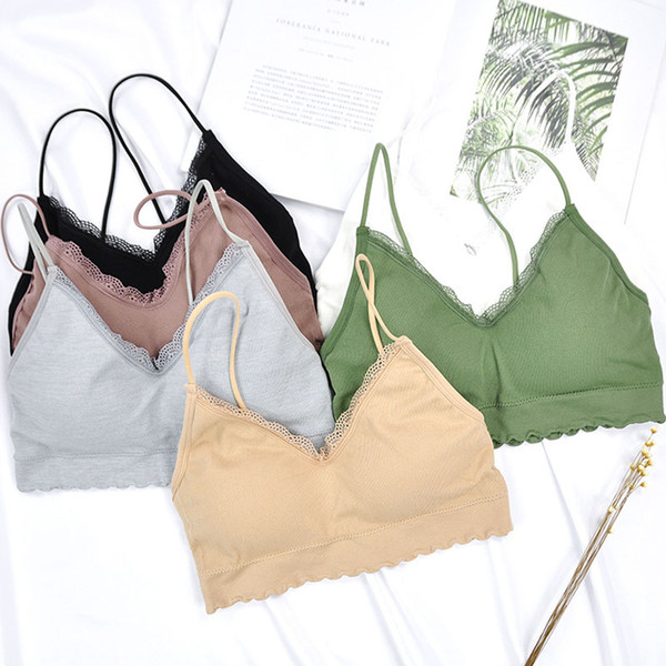 best selling Fashion Solid Seamless Sexy Ruffles Lace Bra Intersect Sling Tube Top Tank Vest Bra Woman Underclothes