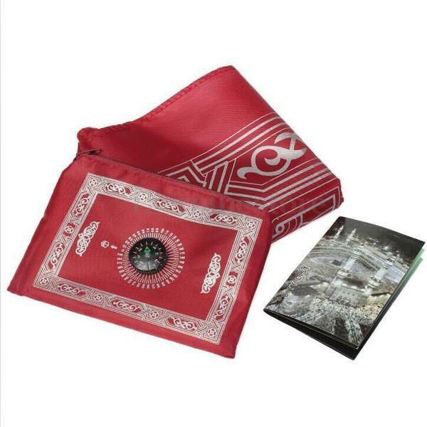 best selling Islamic Prayer Rug Portable Braided Mat Portable Zipper Compass Blankets Travel Pocket Rugs Muslim Prayer Rugs Muslim Worship Blanket HWC381