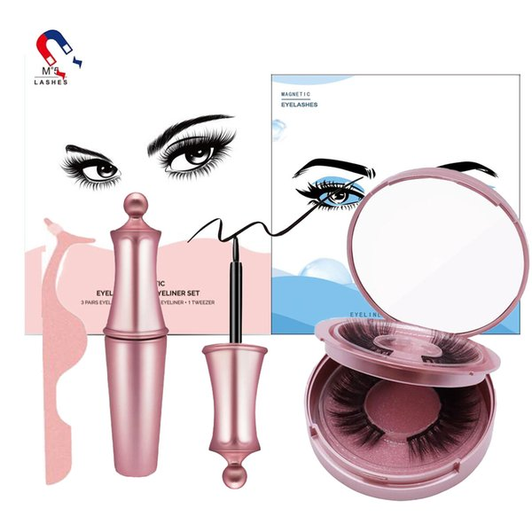 best selling EPACK 2020 Magnetic False Eyelashes With Liquid Eyeliner and Tweezers Kit No Glue Non Faux Eyelash Natural Reusable Lashes Sticky Eyeliner