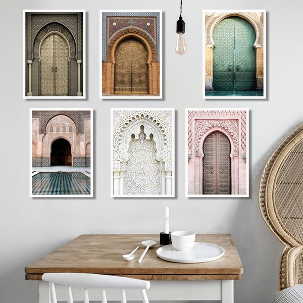 best selling Moroccan Arch Old Door Canvas Painting Islamic Building Wall Art Poster Hassan II Mosque Print Muslim Modern Decoration Picture