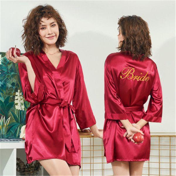 top popular Women's Satin Wedding Kimono Bride Bridesmaid Gold Robe Sleepwear Bride Robes Pajamas Bathrobe Nightgown Spa Bridal Robes Dressing Gown 2021