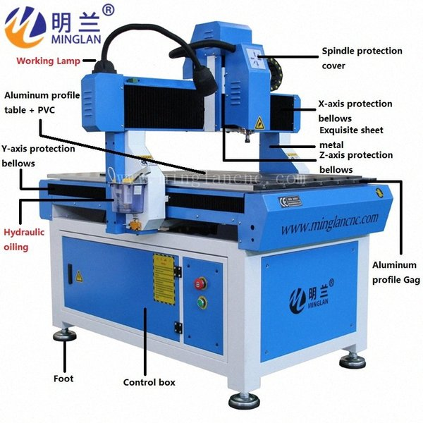 top popular China 6090 cnc router 1.5KW 2.2kw spindle CE certification square guide rail EfvC# 2021