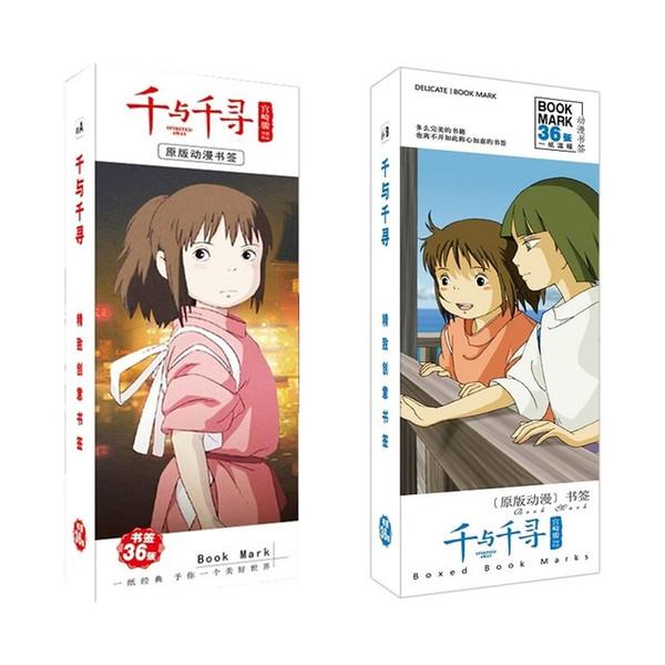 best selling Education & Office Supplies 36Pcs Set Miyazaki Hayao Spirited Away Anime Bookmark Figure Book Holder Message Card Stationery Bookmarks
