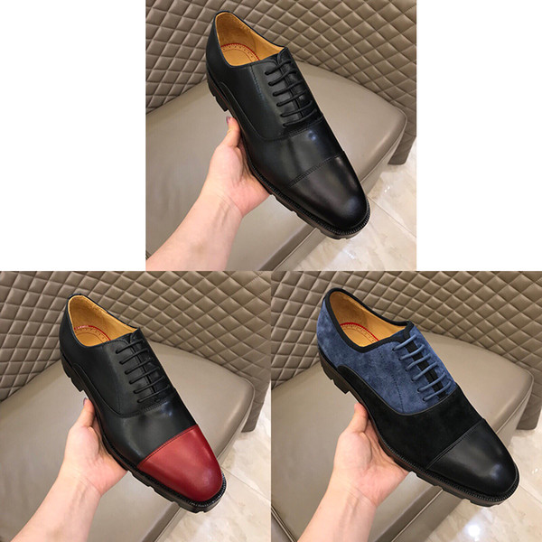 top popular Designer Men Dress Oxfords Shoes Luxury Embossed Genuine Leather Red Bottom Lace-up Fashion Wedding Business Official Footwear Size38-45 2020