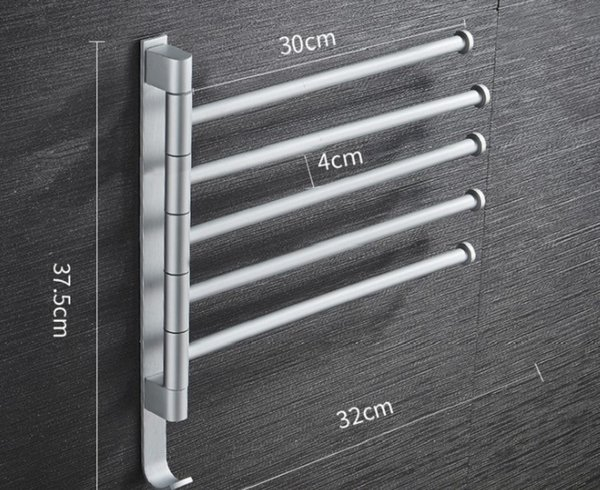 top popular 2020 hot sale Non punching space aluminum towel rack can rotate multi pole bathroom towel bar hardware pendant shelf TR06 2021