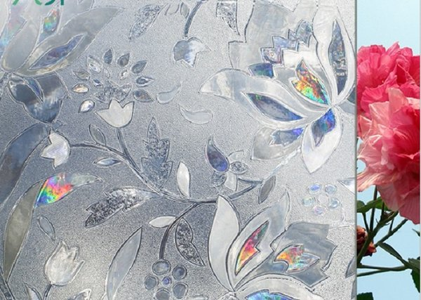 best selling 2020 hot sale Hot selling PVC refracting colorful tulip electrostatic glass paste no adhesive window film can remove window cuts 45*500cm