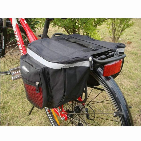 best selling New Mountain Bicycle Carrier Bag 25L Rear Rack Trunk Bike Luggage Back Seat Pannier Two Double Bags Sport Cycling Saddle Storage MX200717