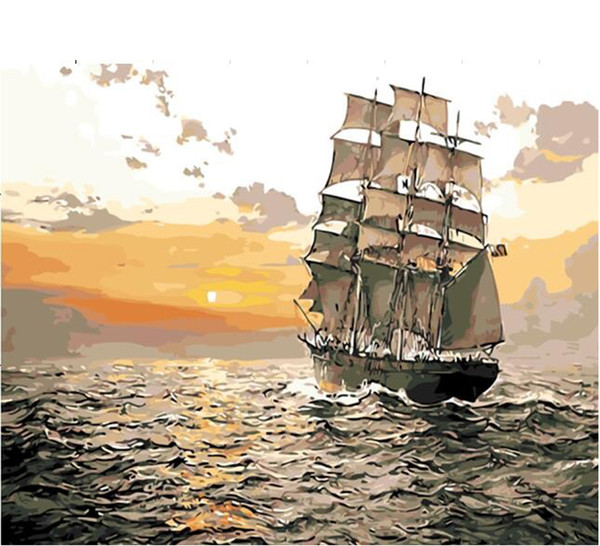 "top popular DIY Painting By Numbers Adult Hand Painted Canvas Oil Paint Kits Paint wall decoration -Sunset sailboat 16""x20"" 2021"