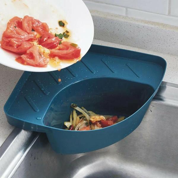 top popular Triangle Storage Holder Multifunction Drain Shelf Kitchen Sink Drain storage basket Kitchen Sink Food Residue Fter Net rack 2021