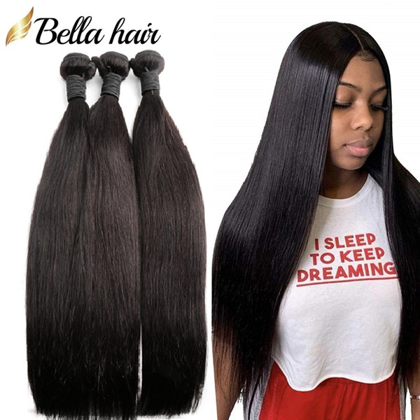 best selling Bellahair Unprocessed Human Virgin Hair Bundles Brazilian Indian Malaysian Peruvian Hair Extensions Weft Silky Straight Hair Weaves 3PCS