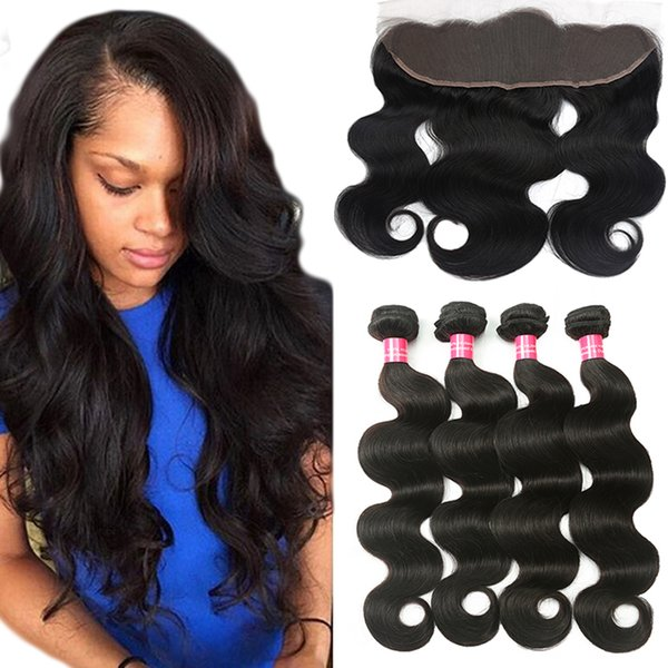 top popular 8a Brazilian Body Wave Human Hair With 4x13 Lace Frontal Closure Ear to Ear Lace Frontal With Bundles Brazilian virgin hair Body Wave 2020