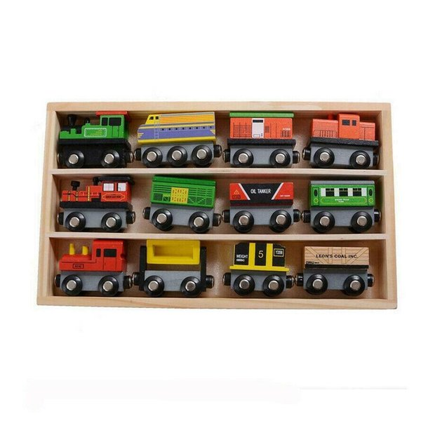 top popular 12 Piece Wooden Train Cars Magnetic Set Includes 3 Engines Magnet Train Toy 2021
