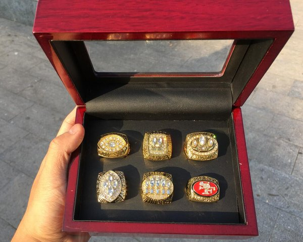 6pcs 49e r ring set with wooden box