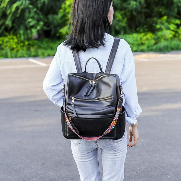 top popular Fashion Design OL Packback Versatile Zipper Women Sholder Bag PU Satchels School Bag For Girls SB001 2020