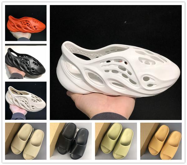 best selling high quality Foam runner kanye west clog V2 sandals triple black white slides fashion slippers womens mens beach sandals flip flops 36-45