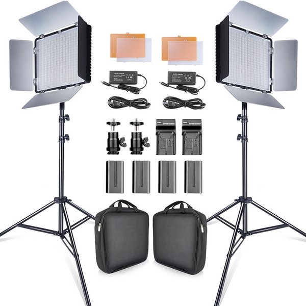 Cheap Fothic Lighting TRAVORS 2SET 600PCS STUDIO CAMERA PHOTO LIGHT 3200K / 5500K CRI93 Kit de luz de video LED con trípode 2M y NP-F550