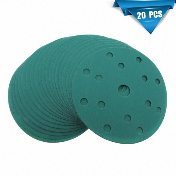 best selling 20Pcs 6 Inch 150MM 17 Holes 60 to 2000 Grits Hook and Loop Polyester Film Green Sandpaper Sanding Disc B3ak#