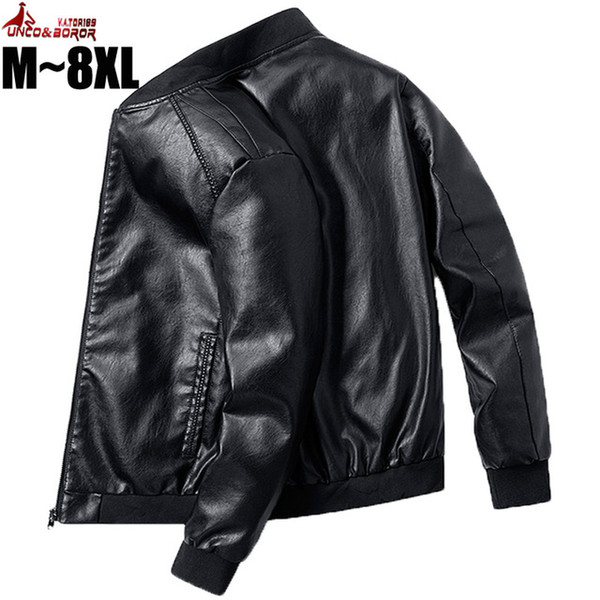 en's Clothing Plus Size 7XL 8XL PU Leather Jacket Men Bomber Baseball Jacket Biker Pilot Varsity College Top slim fit Motorcycle Leather ...