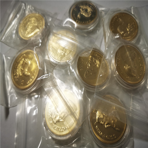 best selling South Africa Krugerrand Coin Retail Sales 2pcs lot Free shipping 24k Gold clad souvenir coin 40*3mm metal Collection Gift