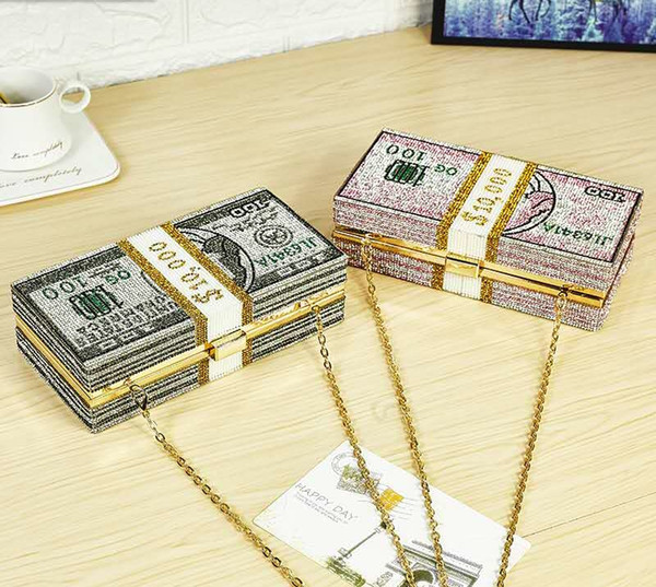 top popular New crystal Money USD bags Dollar Design Luxury Diamond Evening Bags Party Purse Clutch Bags Wedding Dinner Purses and Handbags 2020