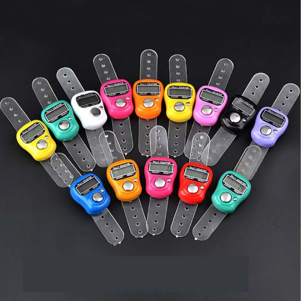 top popular DHL FEDEX Free Shipping 200pcs Mini Hand Hold Band Tally Counter LCD Digital Screen Finger Ring Electronic Head Count Tasbeeh Tasbih 2020