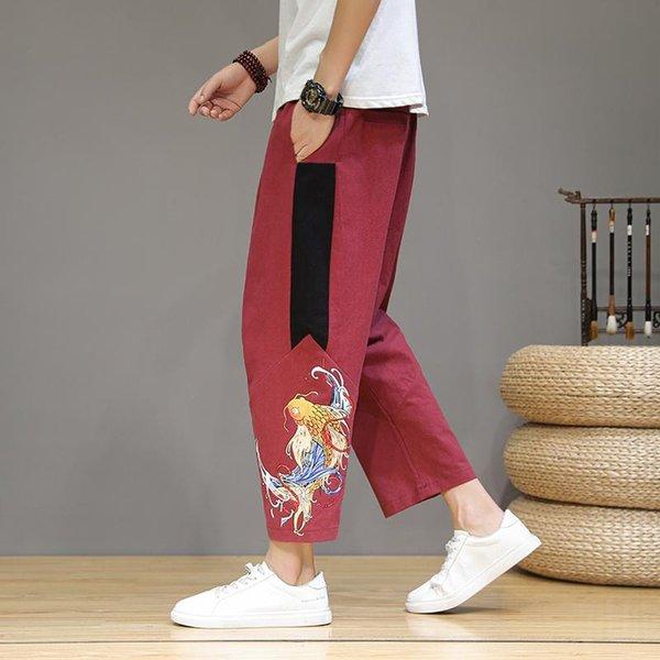 Red Linen Pants Men